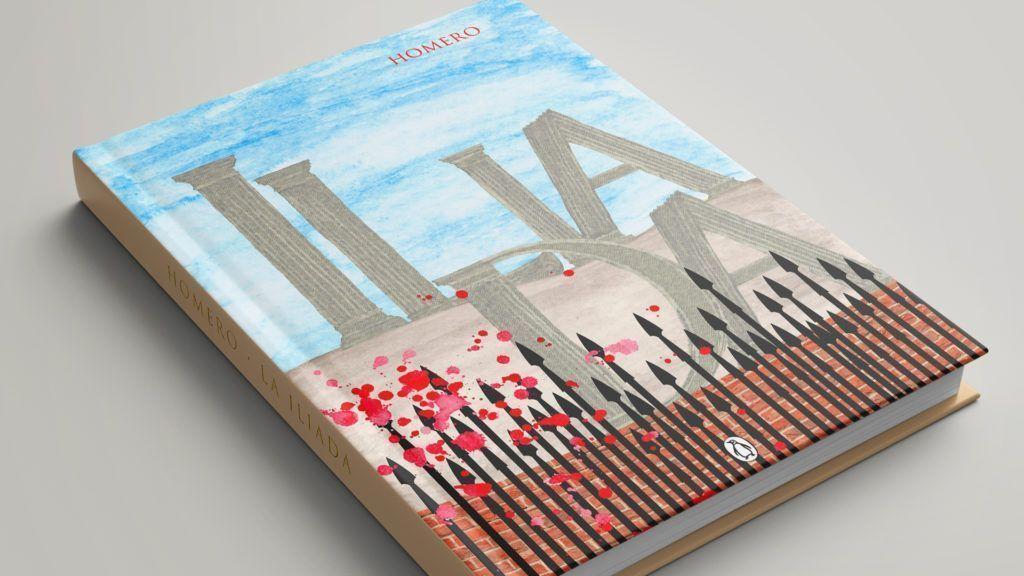 Cubierta de la Iliada con las letras pintadas a mano.