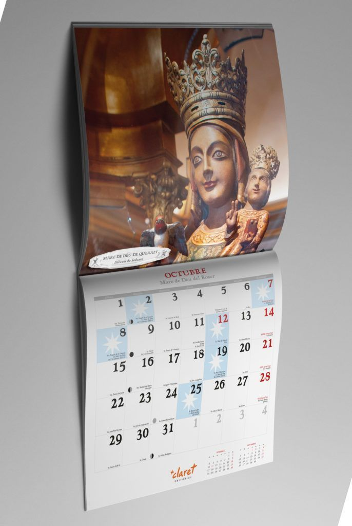Calendari Maria 2018 de Editorial Claret. Octubre