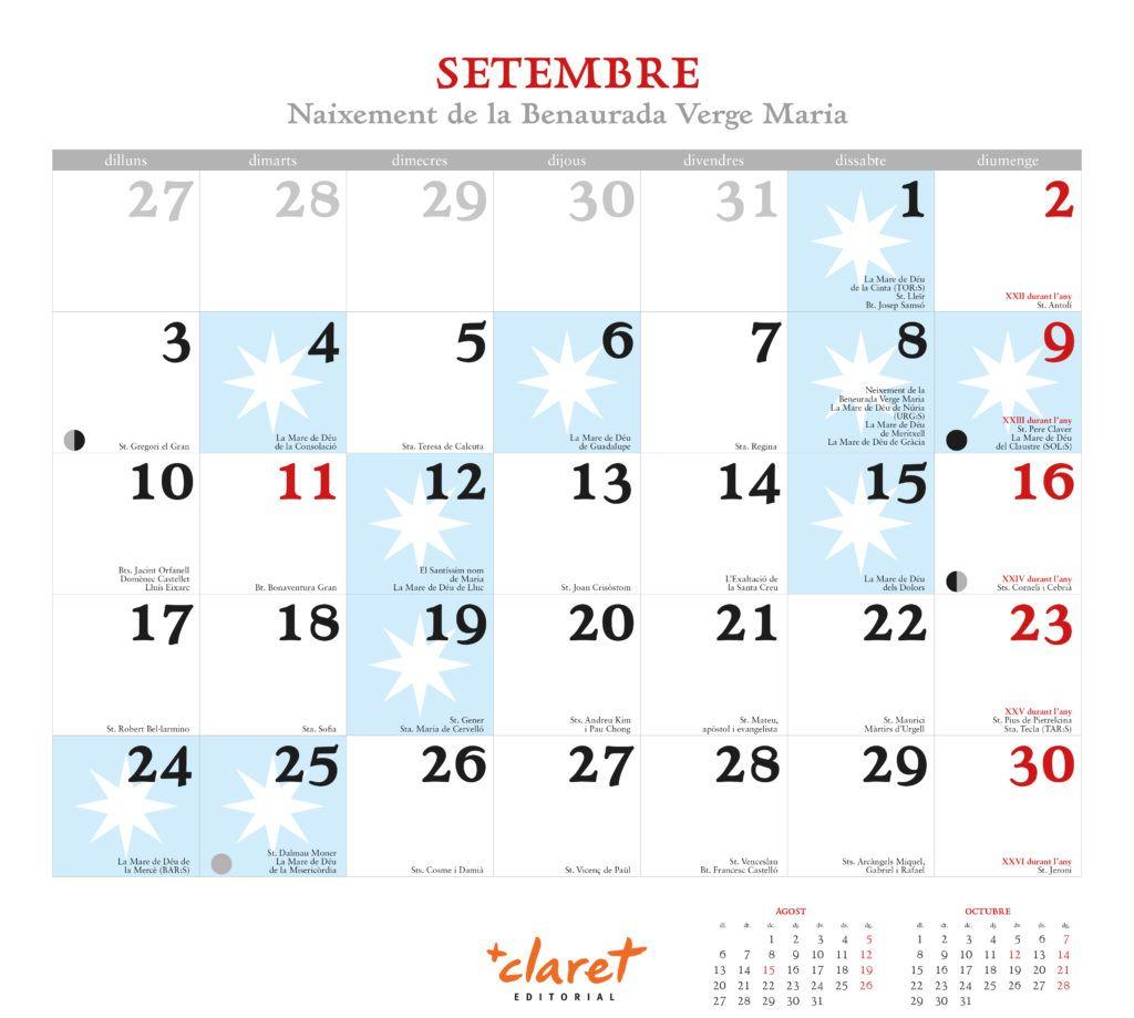 Calendari Maria 2018 de Editorial Claret. Detalle septiembre